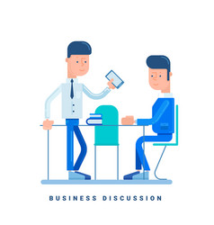 Two businessmen discussing business concept for vector