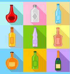 empty bottles icons set flat style vector image