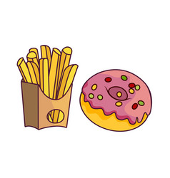 Donut with glaze icing potato fry vector