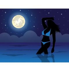 woman in water in the night night sky and the moon vector image