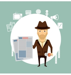 journalist holding a newspaper vector image