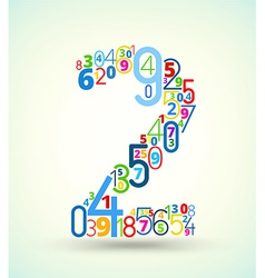 Number 2 colored font from numbers vector
