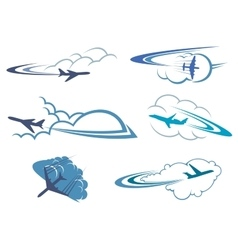 Airplanes flying in the cloudy sky vector