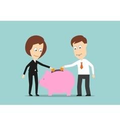 Business team putting money in piggy bank vector