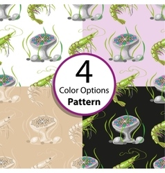 Four seamless pattern with shrimp and jellyfish vector