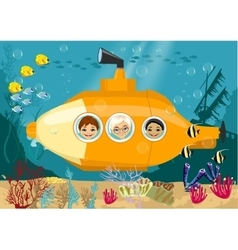 Happy kids in submarine underwater vector