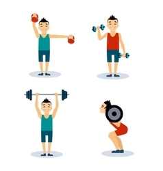 Man workouts set set vector