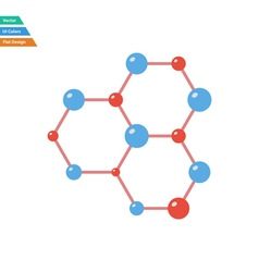 Flat design icon of chemistry hexa connection vector