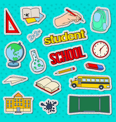 Back to school stickers badges and patches vector