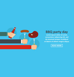 bbq party day banner horizontal concept vector image vector image
