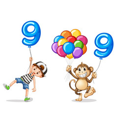 boy and monkey with balloons for nine vector image