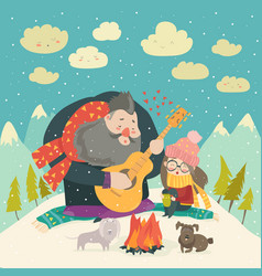 Boy plays guitar for a girl in the winter forest vector