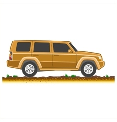 Brown suv car off-road 4x4 icon colored vector