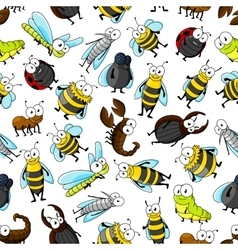 Cartoon cute bugs and insects seamless wallpaper vector image