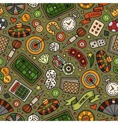 Cartoon hand-drawn casino games seamless pattern vector image