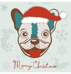 Christmas card with French bulldog vector image vector image