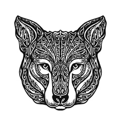 Ethnic ornamented wolf head vector