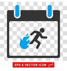 Fire evacuation man calendar day eps icon vector