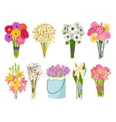 flowers brunch bouquet set collection flat floral vector image vector image