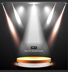 Gold stage with spotlight and star on black vector