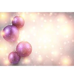 Golden background with purple christmas balls vector image vector image