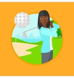 Golfer hitting the ball vector image vector image