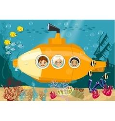 Happy kids in submarine underwater vector image