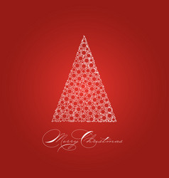 holiday card with white christmas tree on red vector image