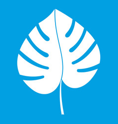 Leaf of monstera icon white vector