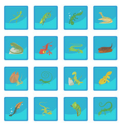 lizard type animals icon blue app vector image