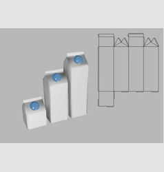 Milk boxes and template vector