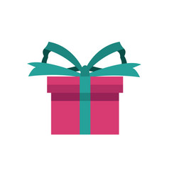Pink gift box wrapped green ribbon bow present vector