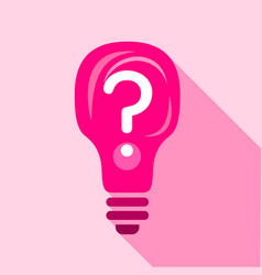 Pink light bulb with question mark inside icon vector