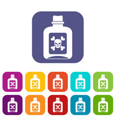 Poison icons set vector