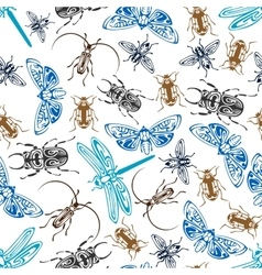 Seamless pattern of bugs and insects vector