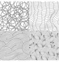set of 4 doodles seamless patterns and textures vector image