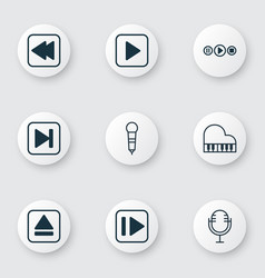 Set of 9 multimedia icons includes rewind back vector