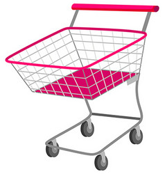 Single shopping cart with wheels vector