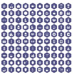 100 beverage icons hexagon purple vector