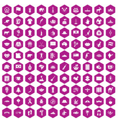 100 landmarks icons hexagon violet vector image vector image