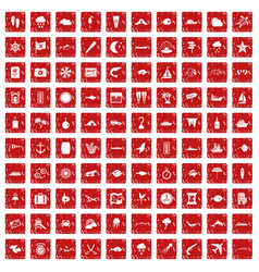 100 marine environment icons set grunge red vector