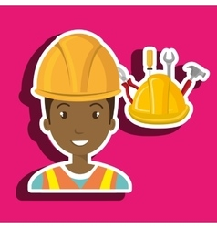 Man construction tool helmet vector