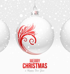 Christmas white baubles with red decor vector