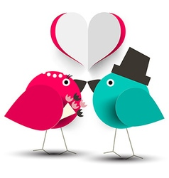 Kissing birds romantic with paper cut heart vector