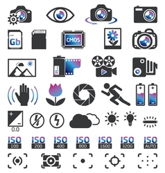 Photocam display icons vector
