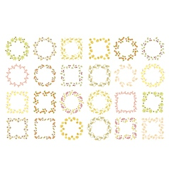 Set of twenty four floral round and square frames vector