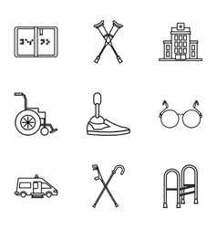 Disabled people icons set outline style vector