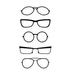 Set of glasses in black white vector image