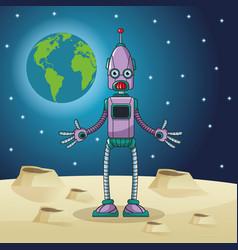 robot space earth moon star vector image