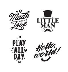 Kid clothes typography prints vintage vector